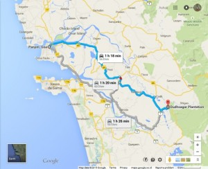 Route map from Panjim Goa