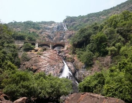 Dudhsagar Waterfalls Panorama with railway bridge