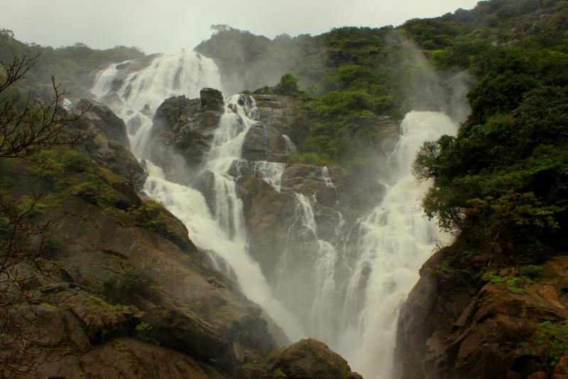 Dudhsagar Waterfalls during rainy season