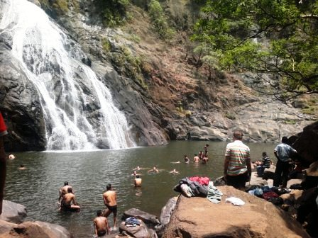 Pool at the base of Dudhsagar Waterfall